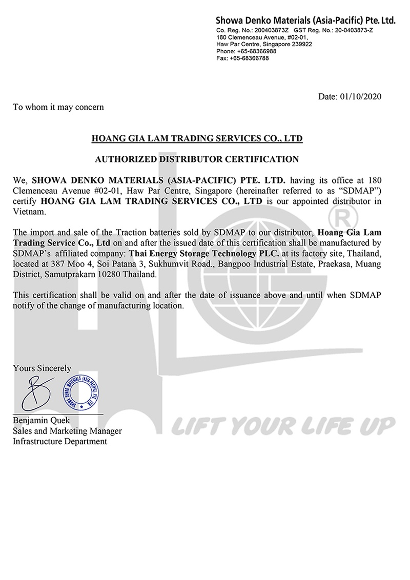 Bình điện xe nâng Hitachi đổi tên thành Lifttop