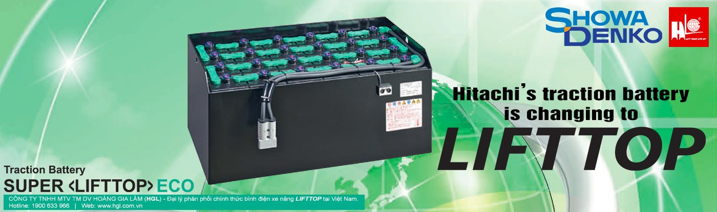 Bình điện xe nâng Hitachi đổi tê thành lifttop
