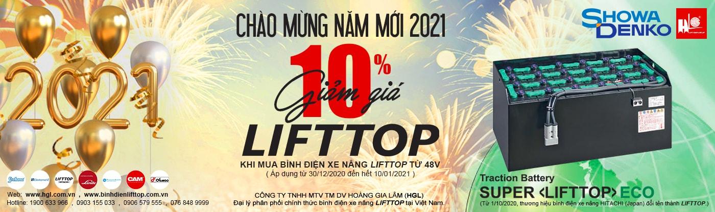 Chào năm mới 2021-Giảm giá 10% khi mua bình điện xe nâng LIFTTOP (HITACHI)
